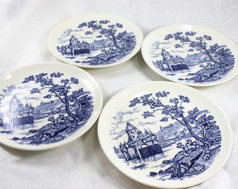 Blue Transferware Set of 4 Vintage Dinner Plates/ by Japan / 9.25 inches / Vintage
