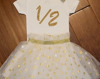Gold Half Birthday, Half Birthday, Gold glitter Onesie, Half birthday shirt, Gold Birthday Half Birthday, Six month birthday
