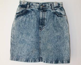 Vintage CAP FERRAT acid wash high waisted skirt size M