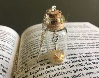 Key Charm Potion Bottle Necklace | Yellow, potion bottle, fairy dust, magic, fantasy, crystals in a bottle