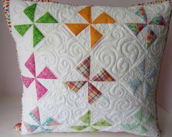 Quilted Pinwheel Pillow, Pinwheel Pillow Cover, Swirling Pinwheels, Quilted Pillow Cover, Colorful throw pillow, Decorative Pillow Cover
