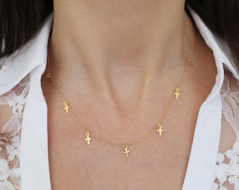 Gold Cross Necklace, Mini Cross Charms, Gold Dainty Necklace, Minimal Jewelry, Delicate Gold Jewelry