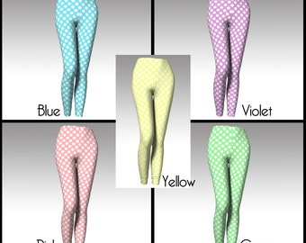 Polka Dot Leggings, Pastel Leggings, Polka Dot Tights, Pastel Tights, Easter Leggings, Easter Tights, Yoga Leggings, Capri Leggings, Women's