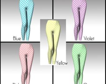 Polka Dot Leggings, Pastel Leggings, Polka Dot Tights, Pastel Tights, Easter Leggings, Easter Tights, Yoga Leggings, Capri Leggings, Women's