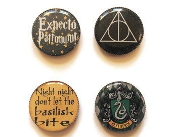 Harry Potter magnets or Harry Potter pins, Expecto Patronum, always, basilisk, slytherin