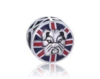 Great Britain Flag Bulldog Charm Bead 925 Sterling Silver Fits European Bracelet