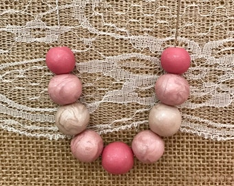Pink white pearl polymer clay beaded necklace silver snake chain