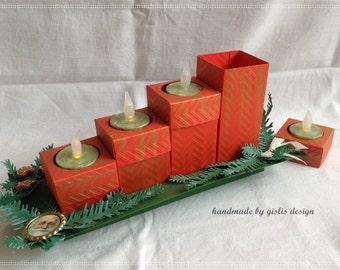 Advent wreath made of paper, candles, illuminated advent calendar, red/green, handmade