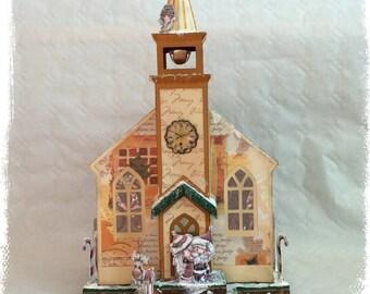 Church, Christmas, gift box, light, beleuten, Santa