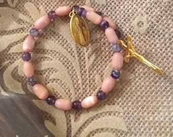 Faith- Amethyst Bead and Peach Cat's Eye Bead Bracelet