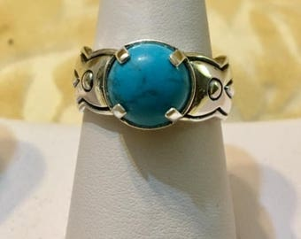 USA-FREE SHIPPING!! Sterling Silver Turquoise Ring