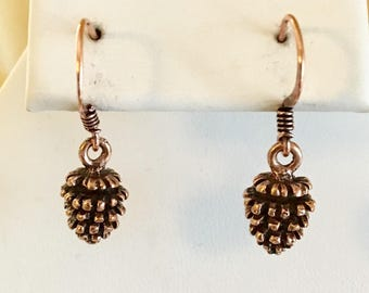 Antiqued Copper Plated Pewter Pine Cone Earrings