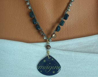 Imagine Hand Crocheted Layering BOHO Mixed Metals Necklace by BEEDZnBAGZ