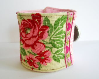 Fabric bracelet with embroidered rose. Cuff bracelet.