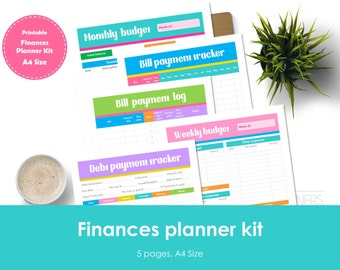 Finance planner kit printable. A4 Size. Includes bill tracker, debt tracker, bill payment log, weekly and monthly budget.