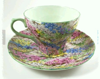 Shelley Rock Garden Floral  Chintz and Mint  Green Teacup and Saucer, 1940 England