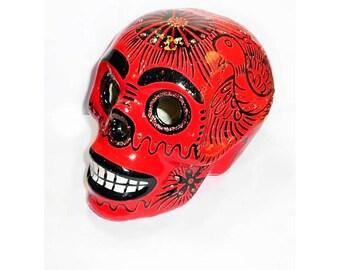 Large Sugar Skull Día de Muertos Vintage Day of the Dead Mexico Mexican Colorful Pottery