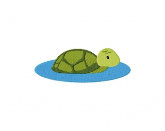 Turtle in the water embroidery design
