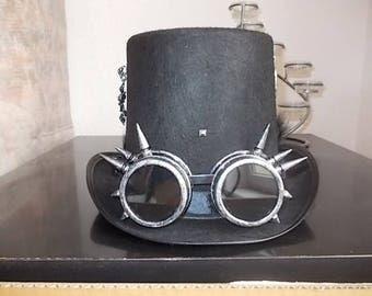Gothic Steampunk Hut. Hat. Höherer Zylinder. Spiked Steampunk Goggles. Size 59