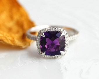 8mm Cushion Cut Amethyst Ring Bridal Wedding Ring 14k Solid Gold Engagement Ring Promise Ring Gold Amethyst Anniversary Ring Gemstone Ring