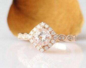 Vintage Rose Gold Engagement Ring 6mm Round Cut Morganite Ring 14k Gold Bridal Ring Morganite Engagement Ring Morganite Anniversary Ring
