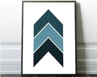 teal wall decor, Teal Wall Art Decor, Geometric Art Print, Turquoise Wall Print, Chevron Print, Chevron Art, Blue Chevron,blue geometric art