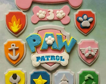 Edible Paw Patrol 9cm Cake Topper, 8 x Cupcake Topper Shields, Name and Age!