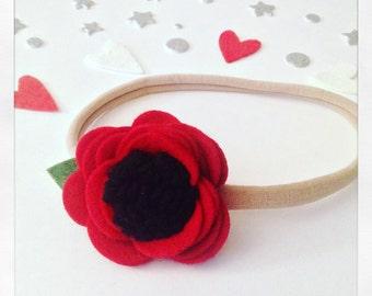 Poppy Headband - Baby Headband - Newborn Headband - Flower Headband - Felt Flower - Felt Headband - Red Headband - Poppy - Red Flower