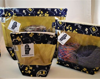Knitting Project Bag, Zippered Project Bag, Knitting Wedge Bag, Yarn Tote Bag, Yarn Bag, Knitting bag, Go Blue, University of Michigan