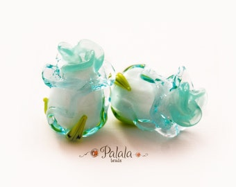 Handmade Flower Lampwork Beads - Turquoise Rose, Lampwork Glass Beads, Floral Lampwork Beads, Lampwork Flower Beads, Lampwork Flower