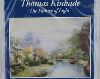 Vintage Thomas KinKade Cross Stitch Kit, Candamar Designs,  Printed Background, Lamplight Brooke, 50837 Cross Stitch Pattern, Needlework Kit
