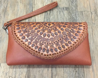 FLORENCE Women Clutch / Hand tooled clutch / Boho Clutch / Handmade / leather wallet / Leather Purse /  Bohemian / Leather Wallet