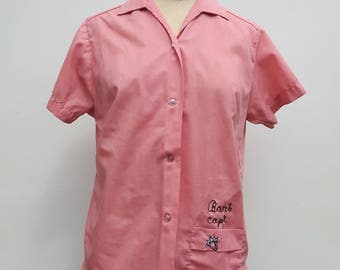 60s Pink Bowling Shirt Cable Stitched