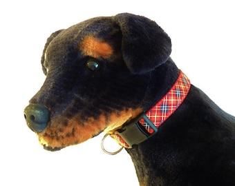 X-Large Red/Black Plaid Adjustable Dog Collar