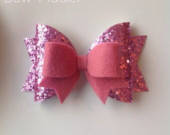 Large glitter girls hair bow, barrett clip, pink bow