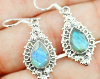 Labradorite Teardrop Silver Earrings