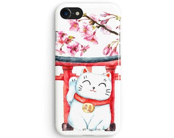 Watercolor lucky cat - iPhone 7 case, Samsung Galaxy S7 case, iPhone 6, iPhone 7 plus, iPhone SE, iPhone 5S, 1C100B