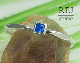 Square Synthetic Sapphire Faceted Silver Ring, Blue September Birthstone Princess Cut 2x2 mm Sapphire Ring Square Setting Promise Stack Ring
