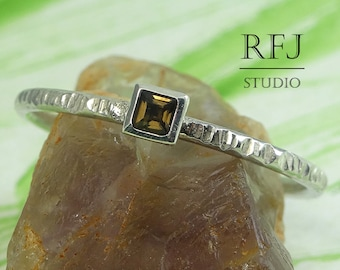 Square Natural Smoky Quartz Textured Silver Ring, Square Setting Princess Cut 2x2 mm Smokey Quartz Promise Ring Stackable Square Quartz Ring