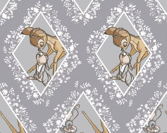 New Disney Bambi Fabric: Camelot Disney Bambi power of friendship Thumper Rabbit Diamonds Gray 100% Cotton Fabric by the yard CA306