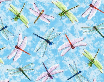 "In stock - New Dragonfly Fabric: Fabri-Quilt You Bug Me Dragonfly Blue  100% Cotton Fabric by the yard 36""x43"" FQ20"