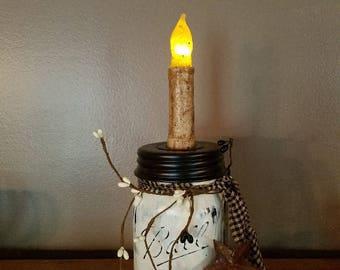 Mason Jar Candle Holder, mason jar, primitive, rustic, farmhouse, home decor, jar, country