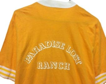 "VINTAGE ©1980's ""Paradise Lost Ranch"" - Gulf Coast Sportswear Ringer V-neck T-shirt"