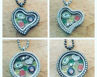 Green Bay packers floating charm necklace!