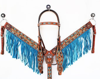 Turquoise Buck Stitch Floral Tooled Fringe Western Leather Cowboy Show Trail Horse Bridle Headstall Breast Collar Tack Set