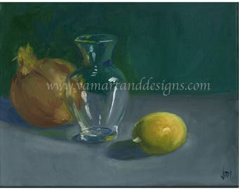 Original Oil Painting Study in Glass Still Life - 11 inches x 14 inches