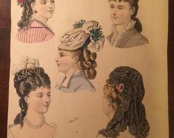 French Fashion Plate Prints from 1800's - Le Salon De La Mode - FREE SHIPPING