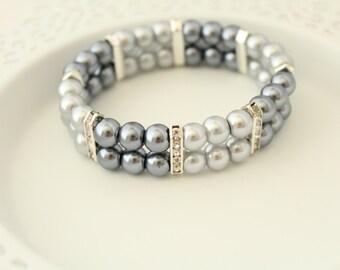 Silver Grey Pearl Bracelet - Pearl Cuff Bracelet - Party Bracelet - Bridal Cuff Bracelet - Wedding Bracelet - Bridal Jewelry