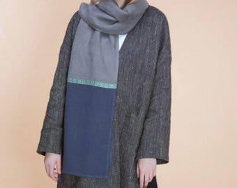 Soft linen scarf in gray-navy blue. Part of scarf in darker tone + garter