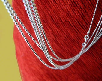 18 inch Necklace Chain, Ball Chain with Lobster Clasp, 1.5mm Fine 925 Silver Plated Ball Chain, Beading Findings